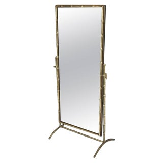 1950s French Bagues Bronze Bamboo Cheval Floor Mirror