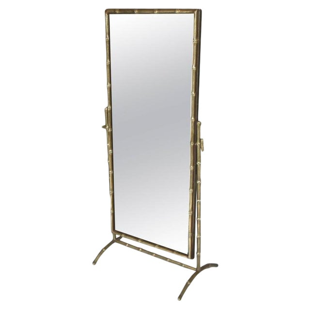 1950s French Bagues Bronze Bamboo Cheval Floor Mirror For Sale