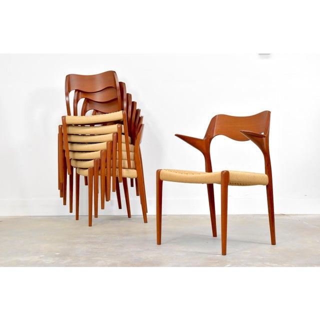 Danish Modern j.l. Møller Model 71/55 Teak & Danish Cord Dining Chairs - Set of 8 For Sale - Image 3 of 13