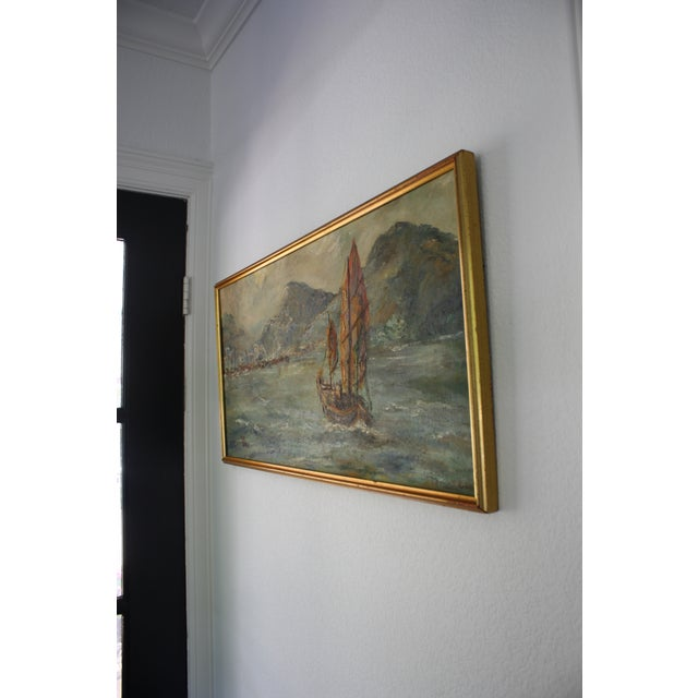 "Mid-Century Oil on Board Titled ""Hong Kong"" Depicting Junk Boat Harbour Scene For Sale In Dallas - Image 6 of 12"