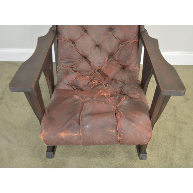 Coffee Antique Mission Arts & Crafts Period Oak Rocker With Cut Outs- Possibly Limbert For Sale - Image 8 of 13