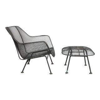 1960's Vintage Woodard Sculptura Garden Lounge Chair and Ottoman For Sale