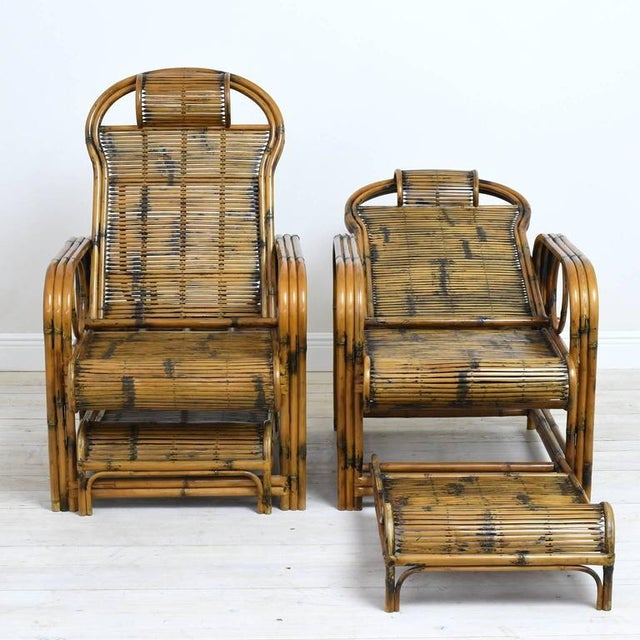 Brown 1920s Vintage French Indochina Bamboo Lounge Chairs- A Pair For Sale - Image 8 of 12