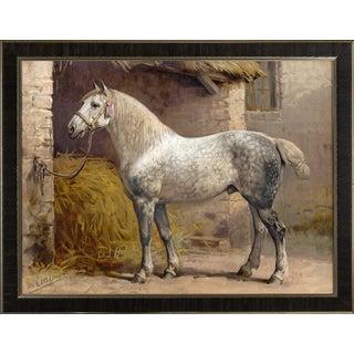 Percheron Horse by Eerelman Framed in Italian Wood Vener Moulding For Sale