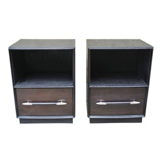 Pr. Ebony Nightstands by T.H. Robsjohn Gibbings for Widdicomb For Sale