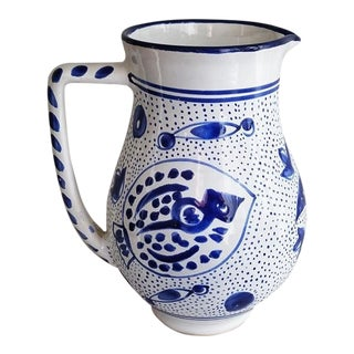 Mediterranean Style Hand Painted Ceramic Pitcher For Sale