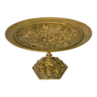 Footed Bronze Tazza Compote Nautical Mythology Nudes For Sale