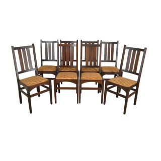 Gustav Stickley Harvey Ellis Antique Mahogany Set 8 Dining Chairs For Sale