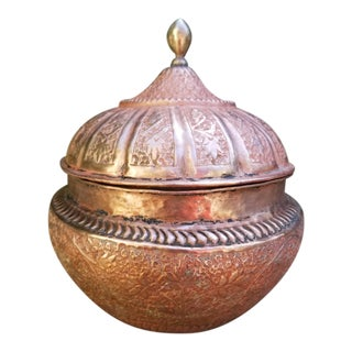 19th Century Handcrafted Copper Pakistani Storage Jar For Sale