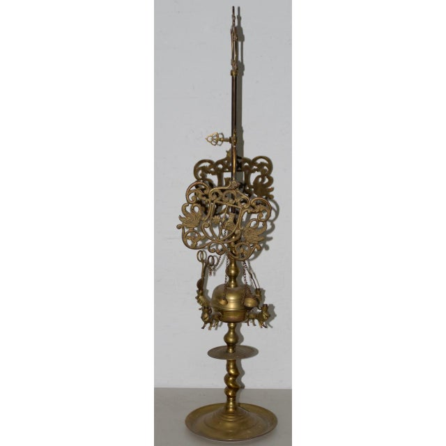 Anglo-Indian 19th C. Middle East Brass Oil Lamp For Sale - Image 3 of 8
