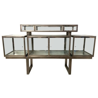 Dia Design Institute of America Steel Chrome and Glass Display Cabinet Vitrine For Sale