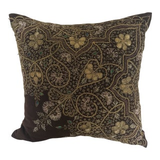 Victorian Textile Gold Thread Hand Embroidered Pillow For Sale