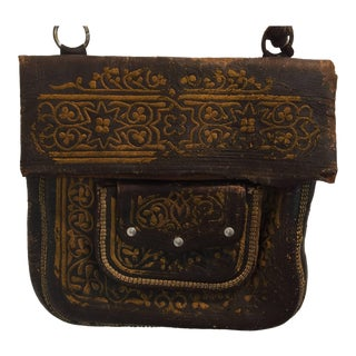 Moroccan Hand Tooled Leather Satchel Bag For Sale