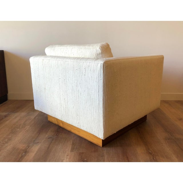 Textile Scandinavian Vintage Modern Box / Club Chair With Boucle Upholstery and Walnut Base For Sale - Image 7 of 12
