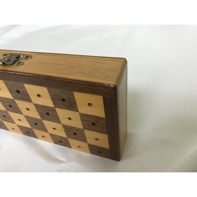 Wood Vintage Wood Miniature Traveling Chess Set For Sale - Image 7 of 9