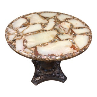1960s Hollywood Regency Arturo Pani Abalone, Onyx and Gilt Side Table For Sale