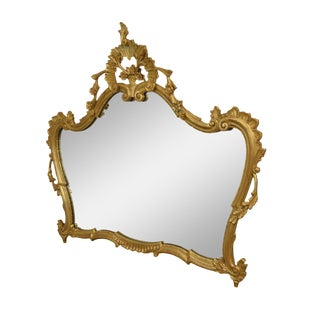 Vintage Louis XV Style Carved Gilt Wood Mantel Mirror For Sale