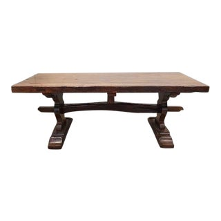 Ancient Large French Antique Monastery Solid Oak Trestle Dining Table Circa 1800's For Sale