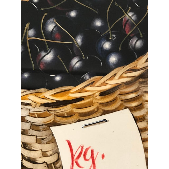 Vintage Swiss Advertising Lithograph of Cherries For Sale - Image 4 of 10