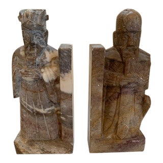 Chinese Mid Century Scholar Warrior Soapstone Bookends - a Pair For Sale