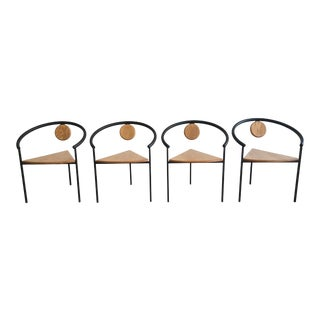 Vintage Michele De Lucchi Style Memphis Tripod Dining Chairs- Set of 4 For Sale