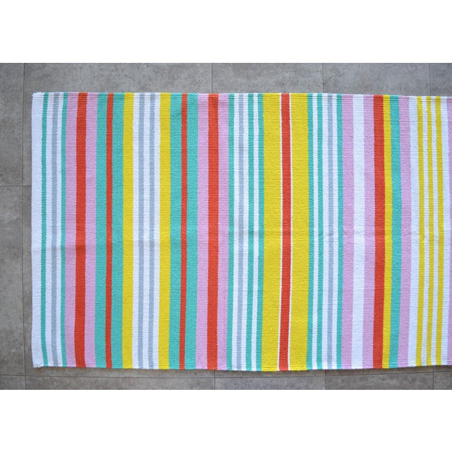Hand-Made Rug Striped Zara Home Cotton Runner Rug - 2′4″ × 6′8″ For Sale - Image 4 of 9