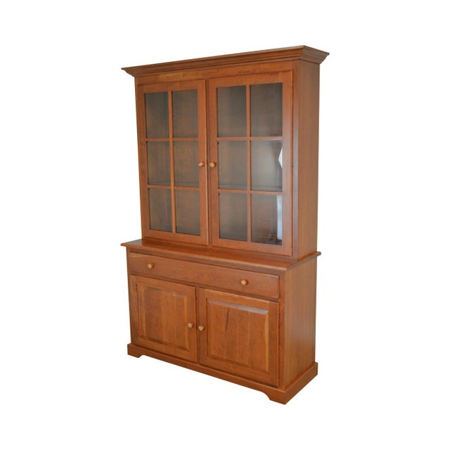 Woxall Woodcraft Hand Crafted Solid Cherry China Cabinet Hutch For Sale - Image 12 of 12