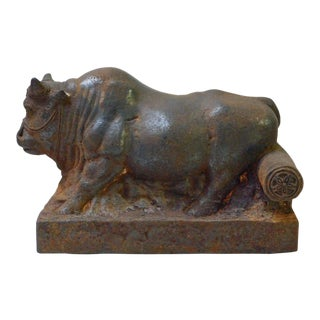 Chinese Vintage Rustic Iron Handmade Muscular Zodiac Cow Statue For Sale