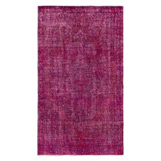 "Turkish Overdyed Raspberry Rug - 4'3"" x 7'2"" For Sale"