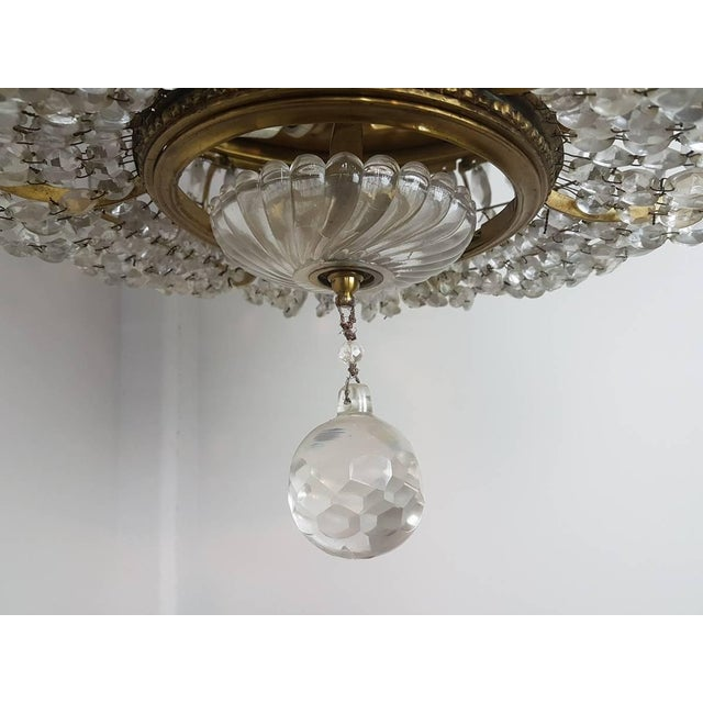 19th Century French Empire Style Gilded Bronze and Crystals Chandelier For Sale - Image 9 of 10