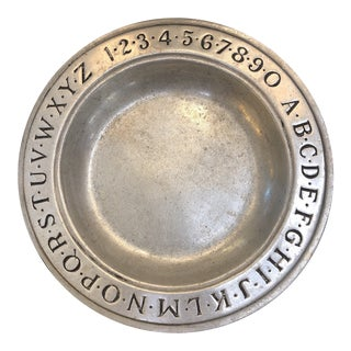 1960s Wilton Pewter ABC 123 Dish For Sale