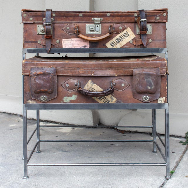 Pair of Antique English Luggage Nesting Tables For Sale In Houston - Image 6 of 13