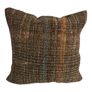 Turkish Brown Handmade Decorative Kilim Pillow Cover For Sale