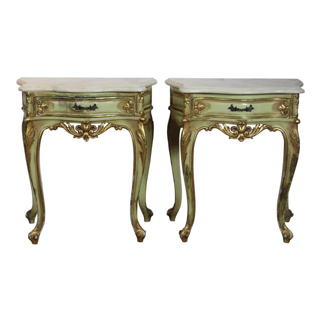 1950s Italian Marble Top Nightstands - a Pair For Sale