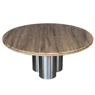 Pace Collection Faux Snakeskin Chrome Pedestal Dining Table For Sale