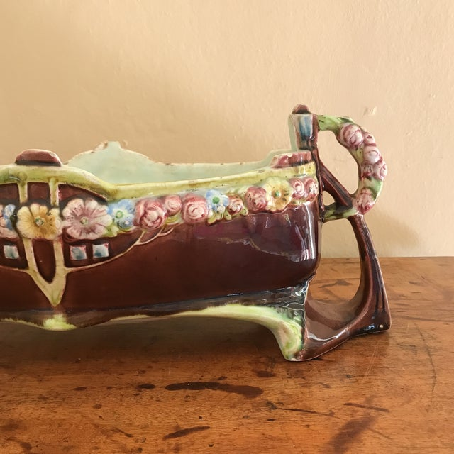 Floral Majolica Low Centerpiece Bowl For Sale - Image 9 of 13