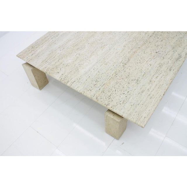 Angelo Mangiarotti Large Travertine Coffee Table 1960s For Sale - Image 4 of 10