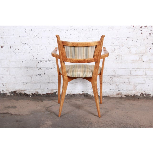 Edmond Spence Swedish Modern Sculpted Tiger Maple Armchairs - a Pair For Sale - Image 10 of 13