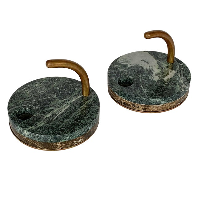Pair of Italian Modernist Marble and Bronze Candle Holders For Sale