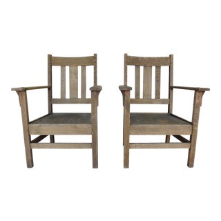 Antique / Vintage Stickley Style Mission Oak Arts & Crafts Arm Chairs - a Pair For Sale
