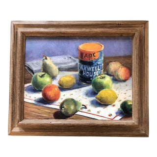 Vintage Original Modernist Still Life Fruit & Coffee Painting For Sale