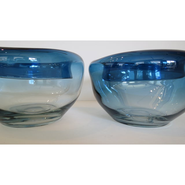 Blue Art Glass Bowls - A Pair - Image 5 of 9