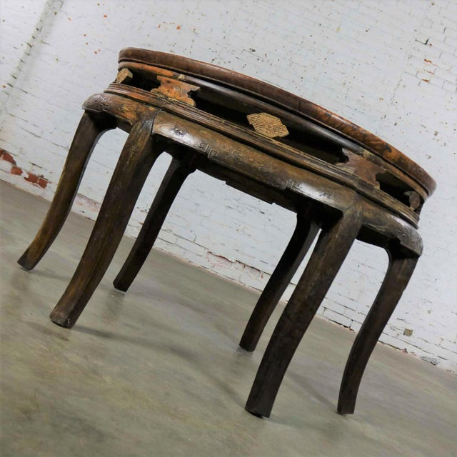 Antique Chinese Round Center Table Hand Carved Elm For Sale - Image 6 of 13