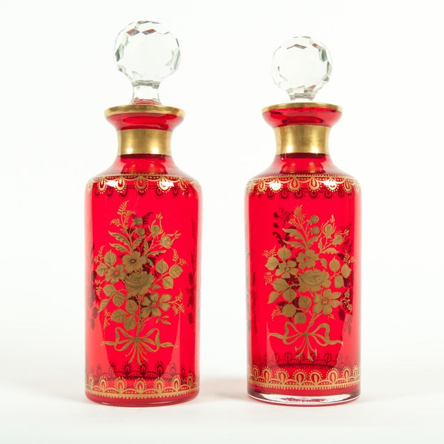Glass Late 19th Century French Decanter Set With 24k Gold Design - a Pair For Sale - Image 7 of 7