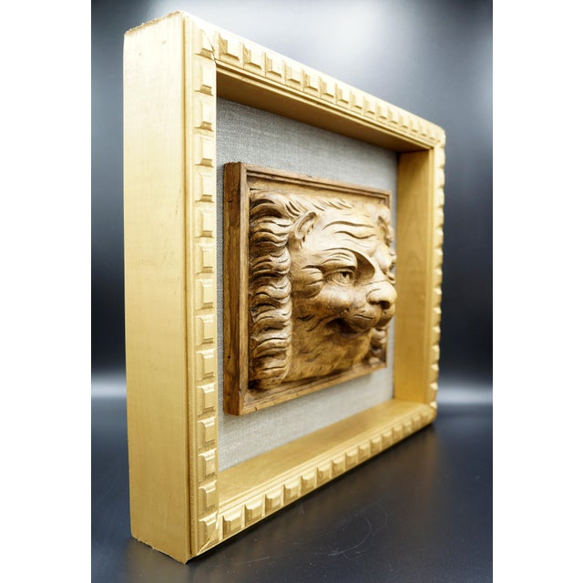 English 19th Century Framed Lion Head Fragment For Sale - Image 3 of 7