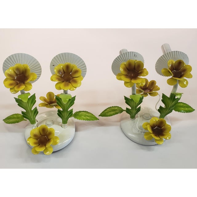 White Italian Tole Yellow Daffodil Sconces - a Pair For Sale - Image 8 of 10