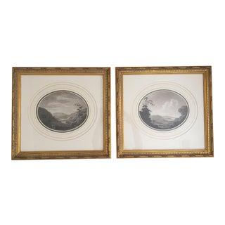 British Prints Vintage Black White Landscape Etchings - a Pair For Sale