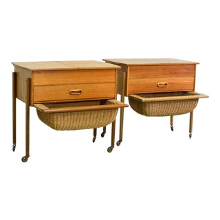 Mid-Century Scandinavian Modern Teakwood Sewing Side Tables inspired after Danish Designer Hans Wegner, 1960s For Sale