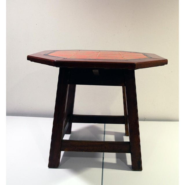 Americana 1920's Folk Art Monterey-Style California Tile Side Table For Sale - Image 3 of 6