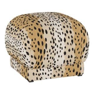 Ottoman, Linen Leopard Caramel For Sale